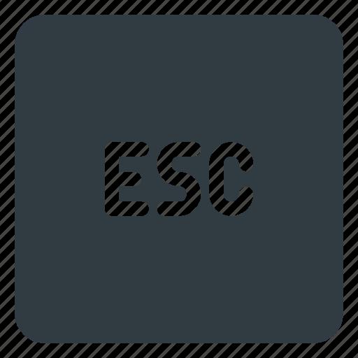 esc, keyboard, shortcut, type icon