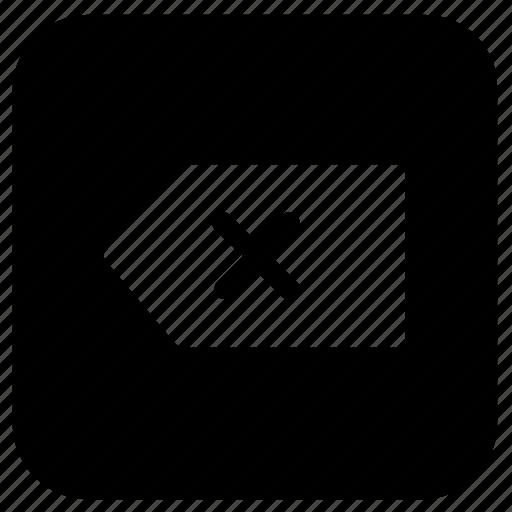 arrow, backspace, function icon
