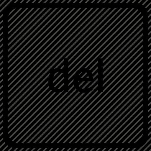 del, delete, element, function, keyboard icon