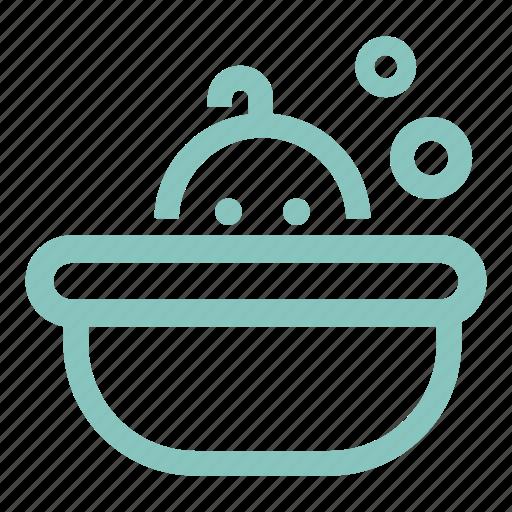 baby bath, bath, bathtub, bubbles, kid, kids, shower tub icon