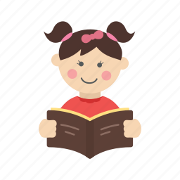book, child, cute, education, girl, reading, student icon