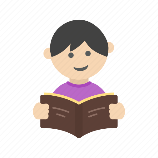 book, boy, child, cute, education, reading, student icon