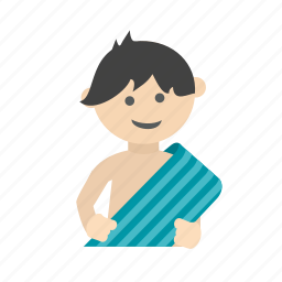 child, dry, kid, shower, towel, wash, wet icon