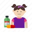 child, doctor, eating, kid, medicine, syrup, tablet icon