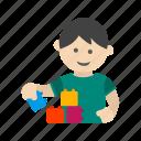 block, child, happy, kid, lego, playing, toy icon