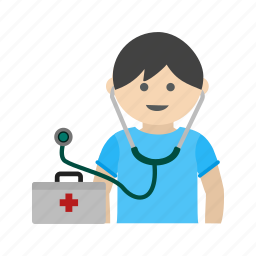 child, cute, doctor, kid, medical, play, stethoscope icon