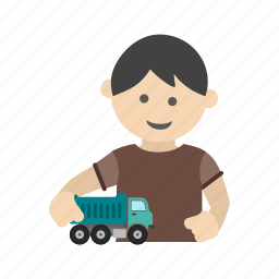 child, happy, kid, playing, race, toy, truck icon