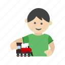 child, happy, kid, playing, race, toy, train icon