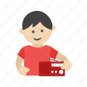 book, boy, child, kid, listening, nursery, poem icon