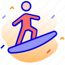 fun, surfing, snowboarding, snowboard icon