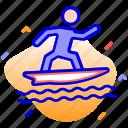 beach sports, summer, surfboard, surfing icon