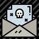 dead, letter, mail, skull icon