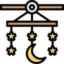 baby, mobile, stars, hanging, bedroom