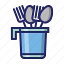 fork, kitchen, spoon, spoon holder icon