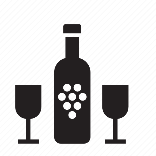 beverage, bottle, drink, glass, kitchen, wine icon