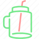 beverage, bottle, cup, drink, glass, straw, water icon