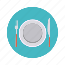 food, fork, kitchen, knife, lunch, plate, restaurant icon