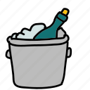 bottle, champagne, drinks, ice, on icon