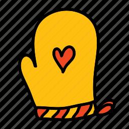 hand, heart, hot, kitchen, mittens, safety icon