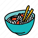 bowl, chopsticks, food, kitchen icon