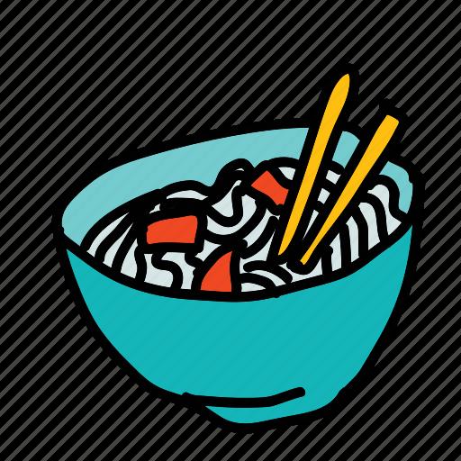 bowl, chopsticks, food, kitchen icon