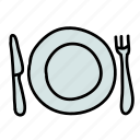 fork, kitchen, knife, place, plate, setting icon