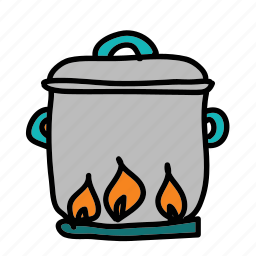 cook, fire, flame, kitchen, on, pot icon