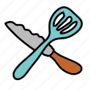 cutlery, equipment, kitchen, knife, spatula icon