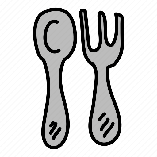 cutlery, fork, kitchen, silver, spoon icon