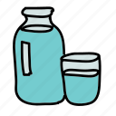 bottle, drinks, glass, kitchen, water icon