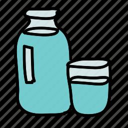 bottle, drinks, glass, kitchen, water icon