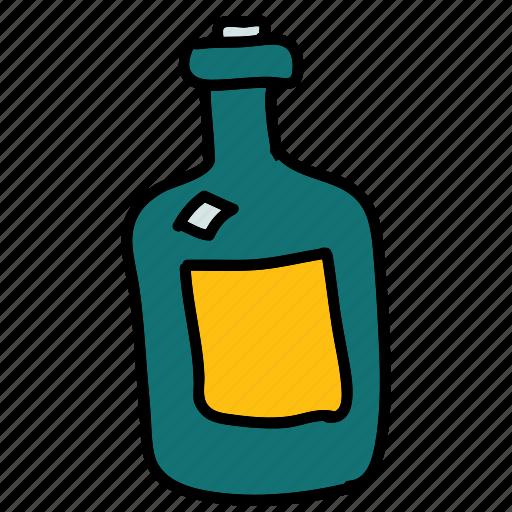 bottle, drinks, old, wine icon