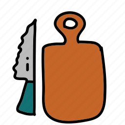 board, chopping, equipment, kitchen, knife icon