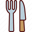 clutery, eating, fork, knife, set, utensil icon