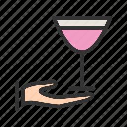 champagne, luxury, restaurant, serving, waiter, wine icon
