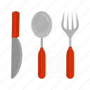 cutlery, fork, knife, set, silver, silverware, spoon icon