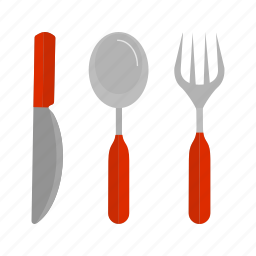 cutlery, fork, knife, set, silver, silverware, spoon icon