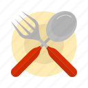 cutlery, dinner, food, fork, kitchen, plate, table