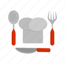 chef, cutlery, fork, knife, meal, metal, spoon