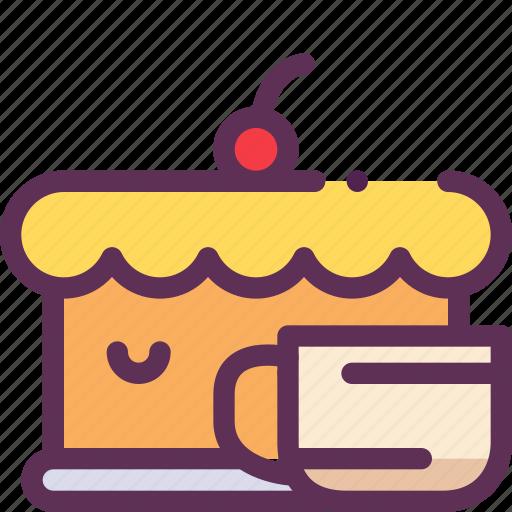 cake, cherry, cofee, holiday, pie, tea icon