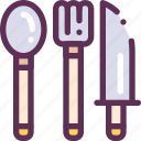 cook, fork, knife, spoon, table icon