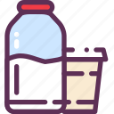 bottle, glass, liquid, milk icon