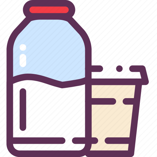 bottle, glass, liquid, milk icon