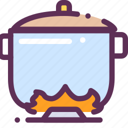 cook, fire, food, pan, soup, storage icon