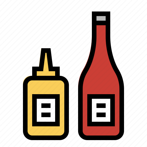 condiments, food, ketchup, kitchen, mustard icon