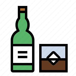 bottle, drink, food, kitchen, whiskey icon