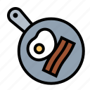 bacon, breakfast, eggs, food, frying, kitchen, pan icon