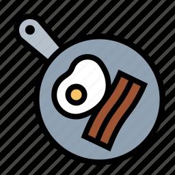 bacon, breakfast, eggs, food, frying, kitchen, pan icon