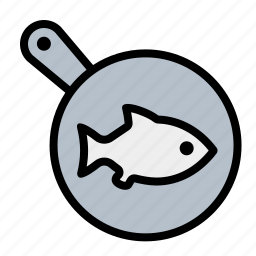 fish, food, frying, kitchen, pan icon