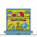 dishwasher, kitchen, washing up, water icon
